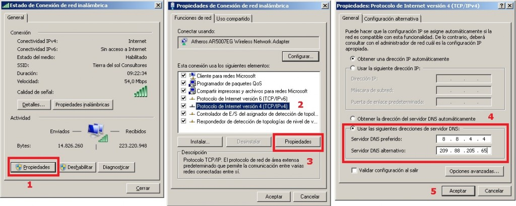 configuracion dns windows 7
