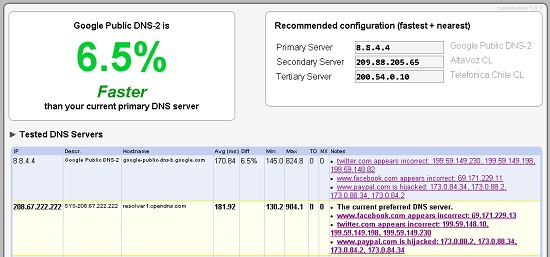 namebench dns resultado