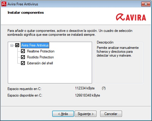 avira free componentes