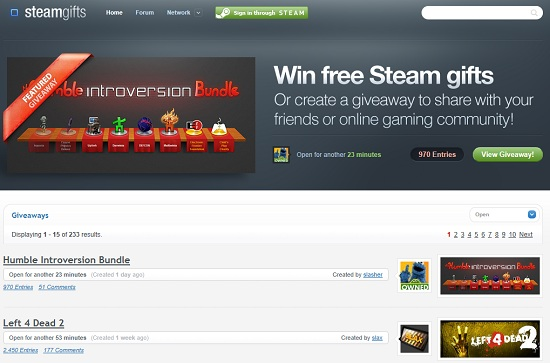 steamgifts win steam gifts